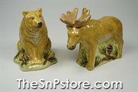 Moose and Bear Salt  & Pepper Shakers