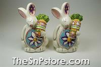 Flowery Bunny Salt  & Pepper Shakers