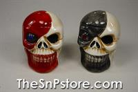 Red Grey White Skulls Salt  & Pepper Shakers