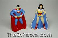 Superman and Wonder Woman Salt and Pepper Shakers