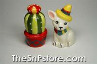 Cactus and Chihuahua Salt  & Pepper Shakers