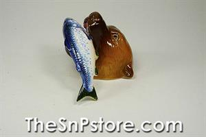 Bear and Salmon Salt  & Pepper Shakers