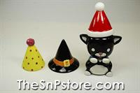 Cat  with 3 Hats Salt  & Pepper Shakers