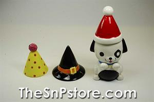 Dog with 3 Hats Salt  & Pepper Shakers