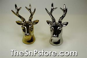 Ceramic Reindeer Gold and Silver  Salt  & Pepper Shakers